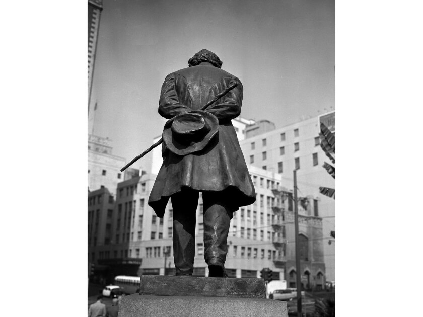 """Nov. 9, 1955: Statue of Ludwig van Beethoven in Pershing Square used in the """"Know Your City"""" photography series."""