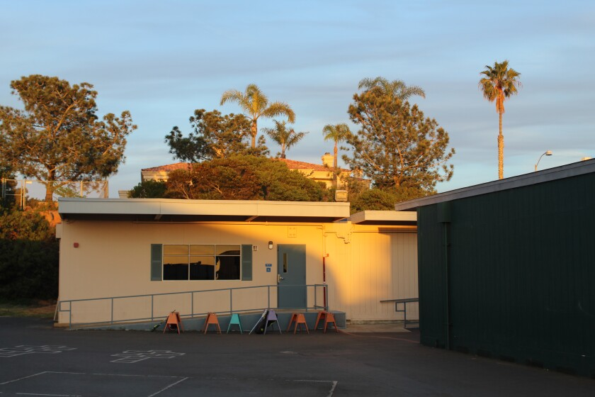 Del Mar Heights' aging portable classrooms will be replaced in next year's campus rebuild. The students will attend off-campus for one-year.