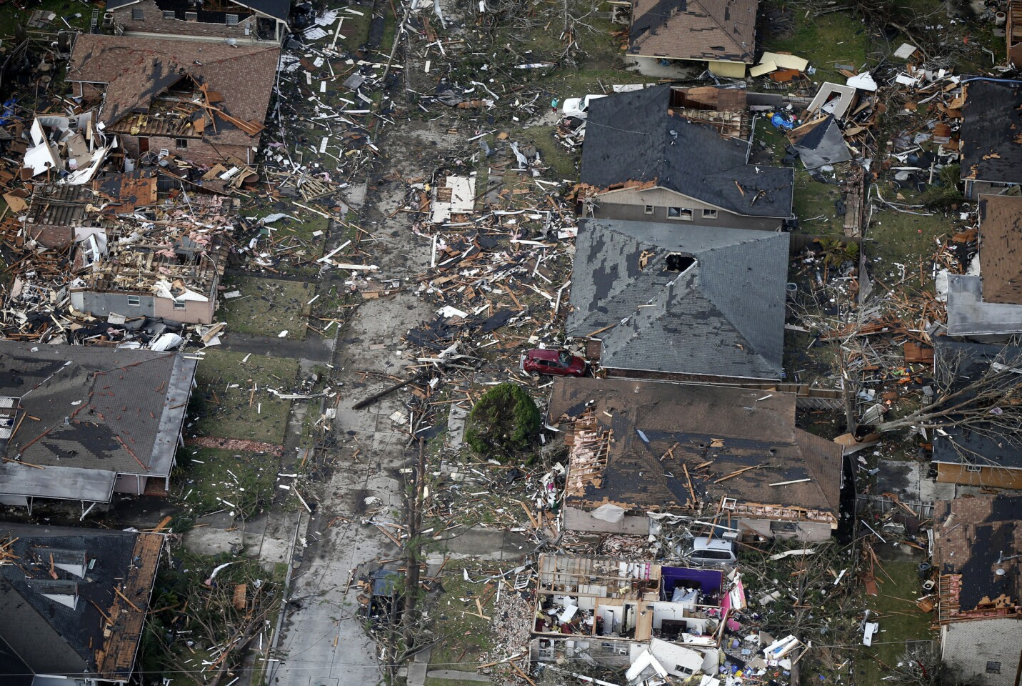 Destroyed and damaged homes are seen in this aerial photo after a tornado tore through the eastern neighborhood in New Orleans on Feb. 7, 2017.