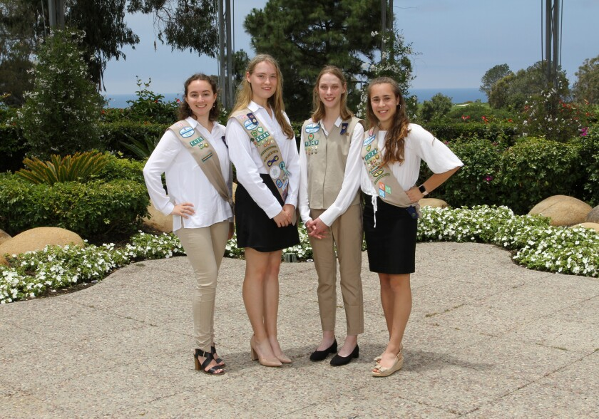 Carmel Valley residents Elle McCue, Makena Kronemyer, Catherine Stone, Moriah Seymann, and (not pictured) Alina Ho are new Gold Award Girl Scouts.
