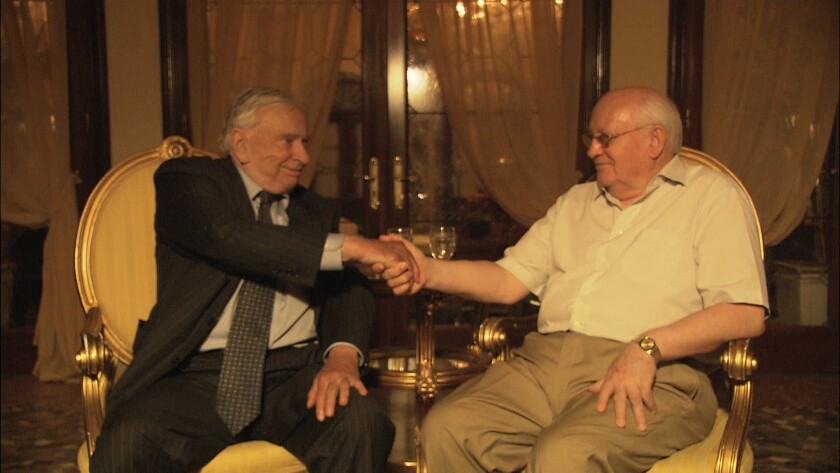 "Gore Vidal and Mikhail Gorbachev in the documentary ""Gore Vidal: The United States of Amnesia."""