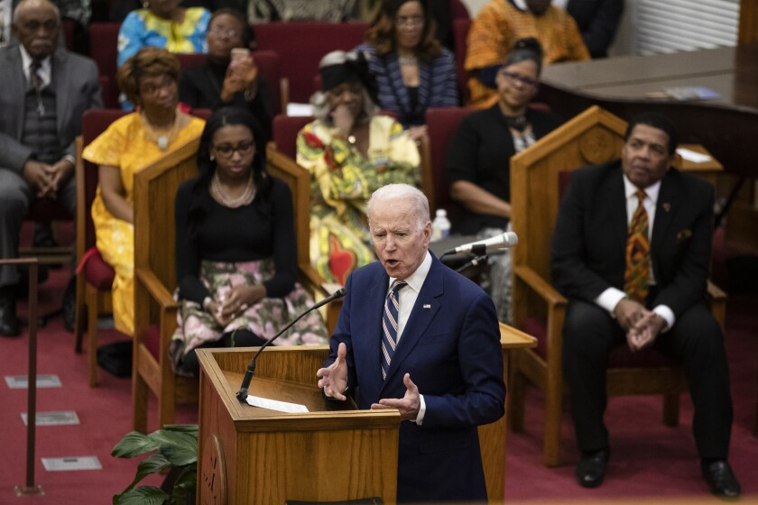 Democratic presidential candidate former Vice President Joe Biden speaks during services Sunday at Royal Missionary Baptist Church in North Charleston, S.C.