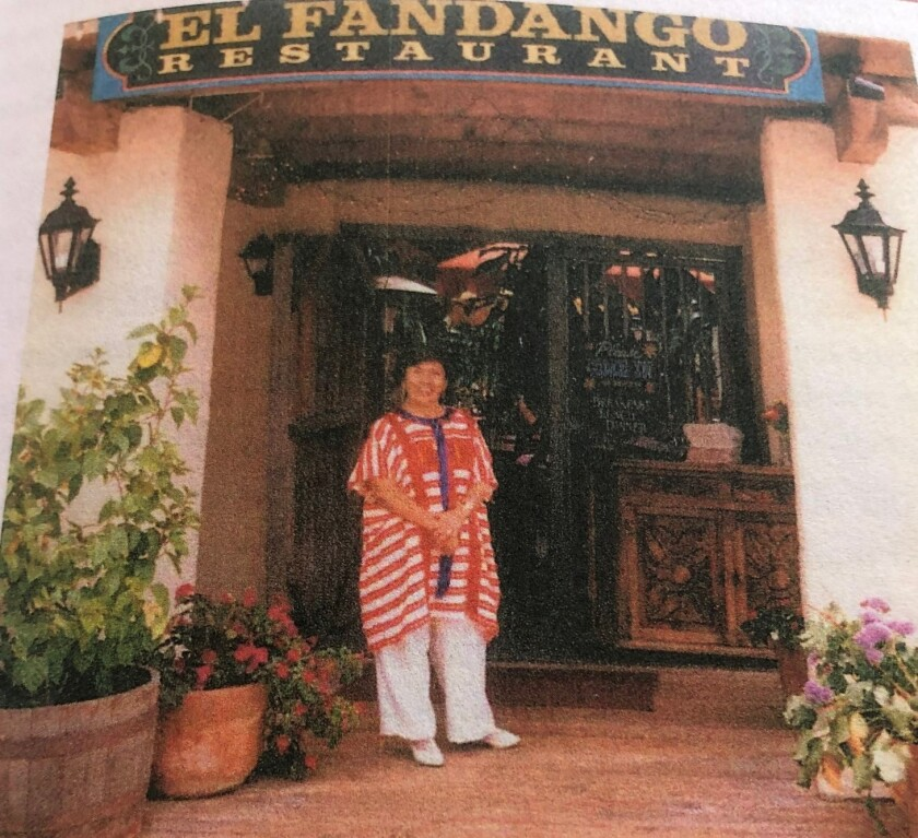 "Consuelo ""Connie"" Puente Miller photographed in front of her El Fandango Restaurant in Old Town, which closed in 2013."