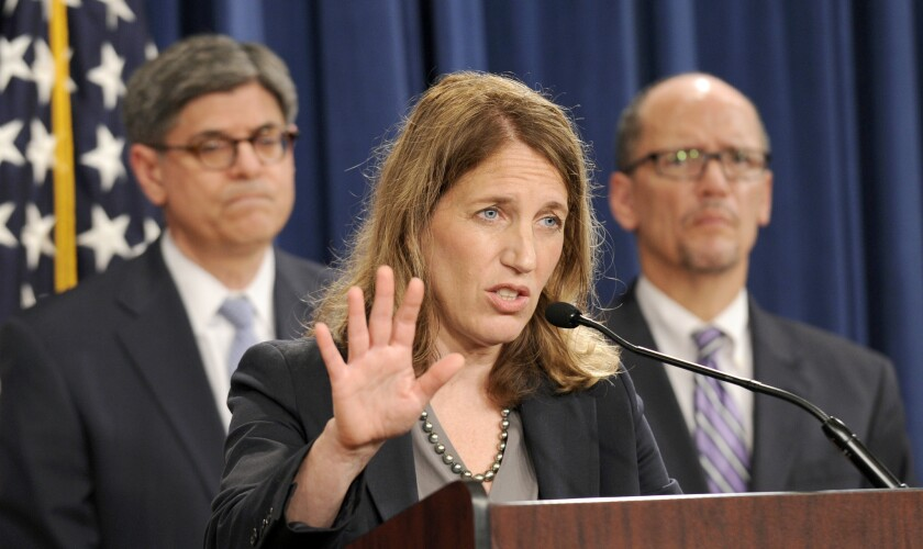 Health and Human Services Secretary Sylvia Burwell, center, flanked by Treasury Secretary and Managing Trustee Jacob J. Lew, left, and Labor Secretary Thomas E. Perez, release this year's Social Security Trustees Report. But something was missing.