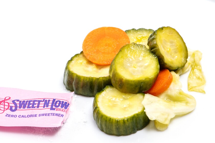 Tina Wong's pickles with Sweet'N Low.
