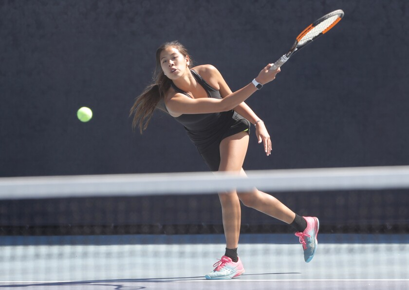 Cindy Huynh, shown playing tennis against Corona del Mar on April 27.