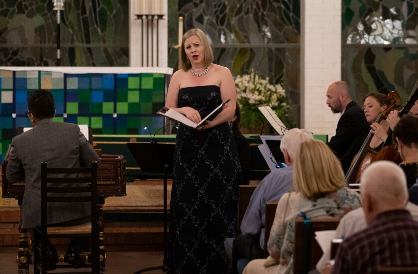 In this photo from 2018, soprano  Clara Rottsolk performs with Bach Collegium San Diego.