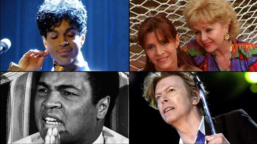 Prince, Carrie Fisher and Debbie Reynolds, David Bowie, and Muhammad Ali.