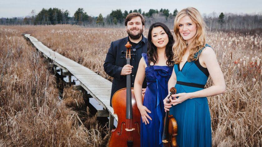The Neave Trio (from left): Mikhail Veselov (cello), Eri Nakamura (piano) and Anna Williams (violin).
