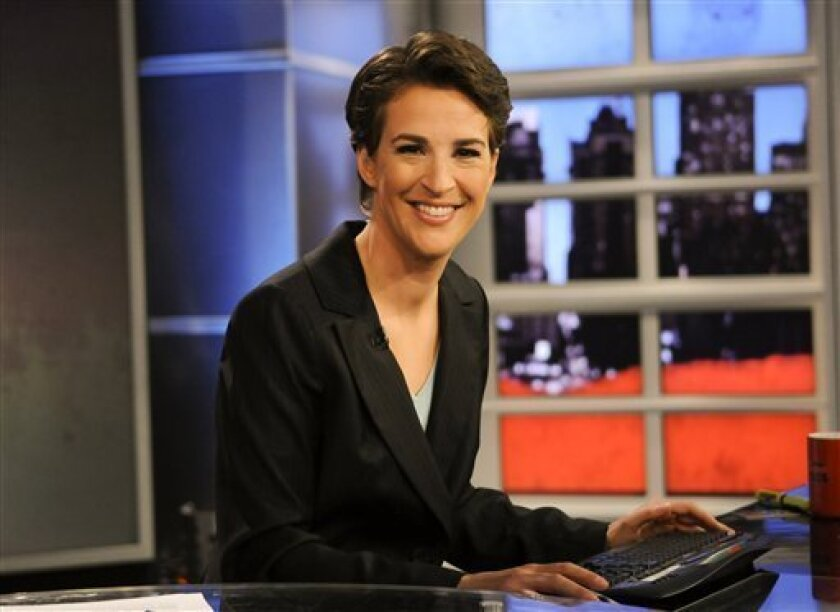 "FILE - In this Sept. 23, 2008 file image originally released by MSNBC, Rachel Maddow from MSNBC's ""The Rachel Maddow Show,"" is shown. As Keith As Olbermann prepares for his debut on Current TV Monday night, the MSNBC he left behind has survived; its boss says it has thrived. The prime-time focus on"
