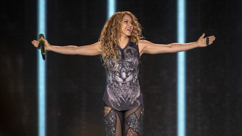 Shakira performs Tuesday night at the Forum in Inglewood.