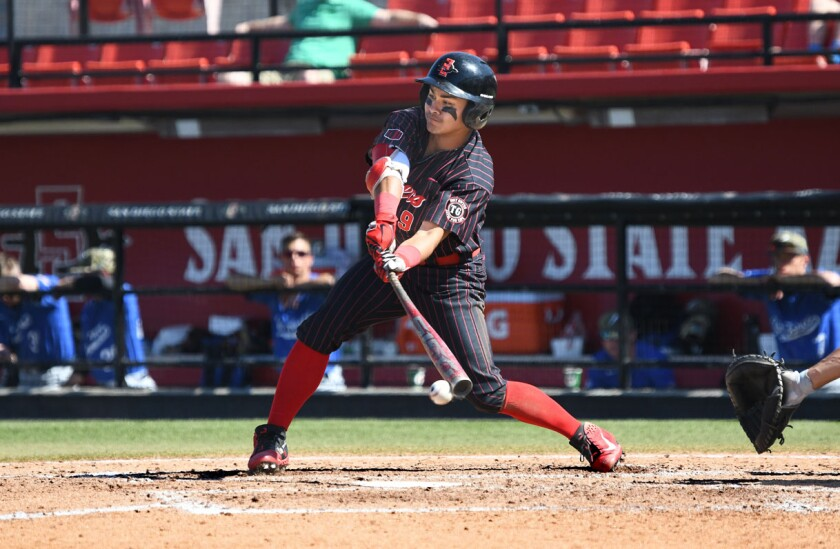 San Diego State sophomore outfielder Matt Rudick had at least one hit in 49 of 55 games this season.