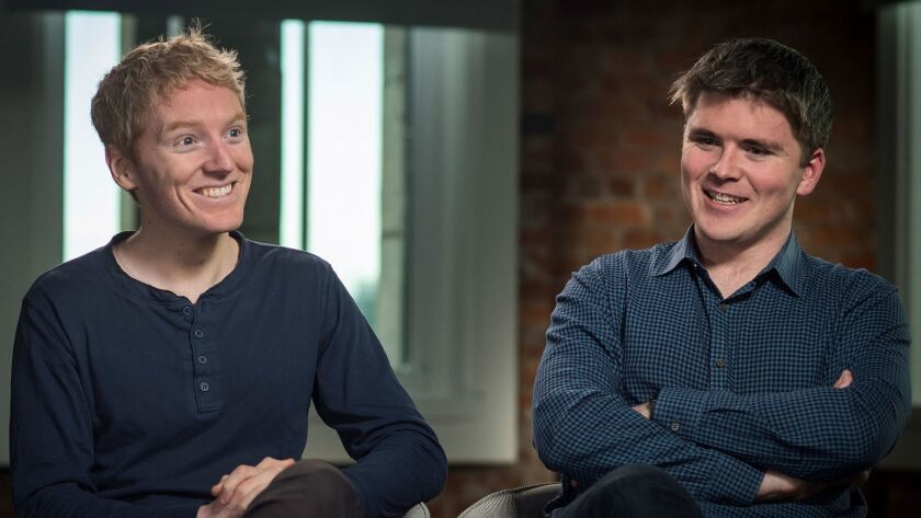 Stripe was founded by brothers Patrick Collison, left, its chief executive, and John Collison, who serves as its president.