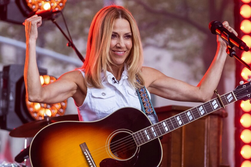 Sheryl Crow performs on the Pyramid Stage during day three of Glastonbury Festival at Worthy Farm, Pilton on June 27, 2019, in Glastonbury, England. She co-headlines this weekend's KAABOO Del Mar.