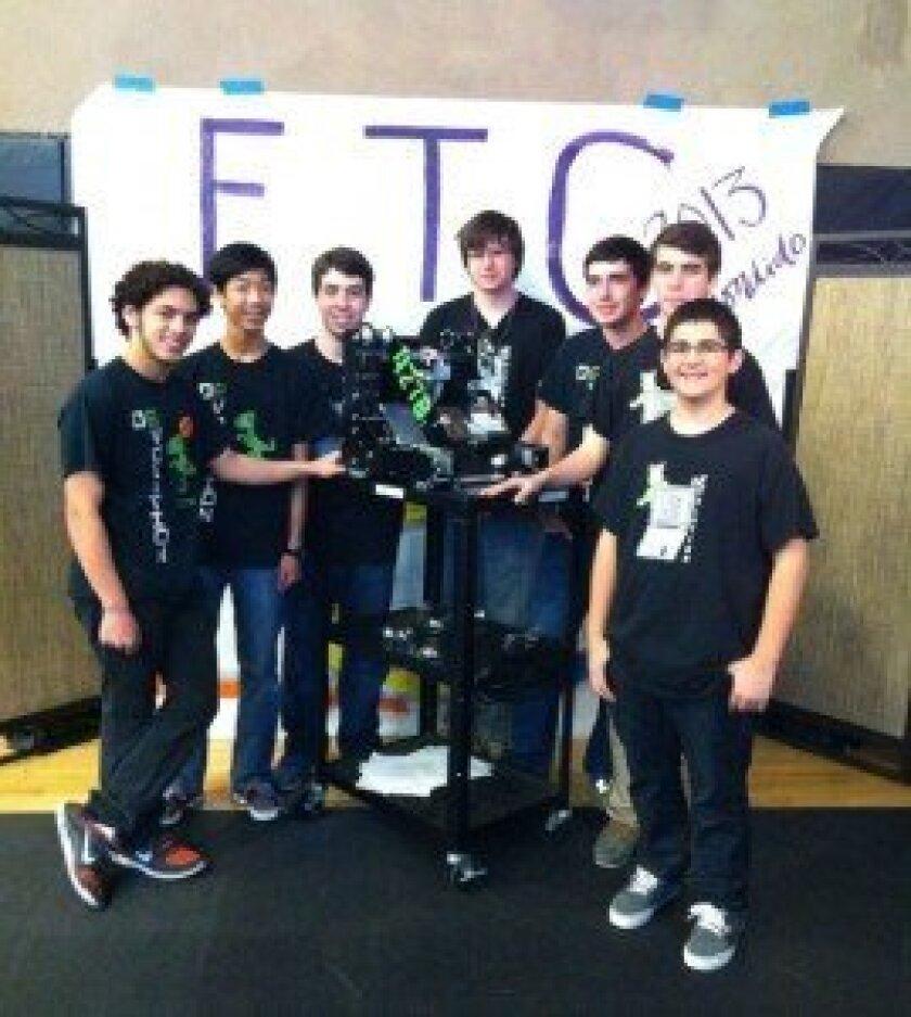 CCA's winning De-Evolution robotics team members (left to right): Yousuf Soliman, Alex Quan, Tristan Murphy, Noah Sutton-Smolin, Ryan Lee, Kian Sheik, Christian Cooper. [not pictured: Mariella Gauvreau']