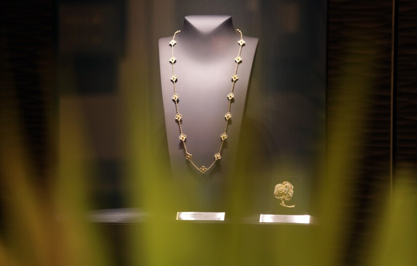 A Van Cleef & Arpels' Alhambra necklace (circa 1978) is displayed in the Room 1906 in Beverly Hills.