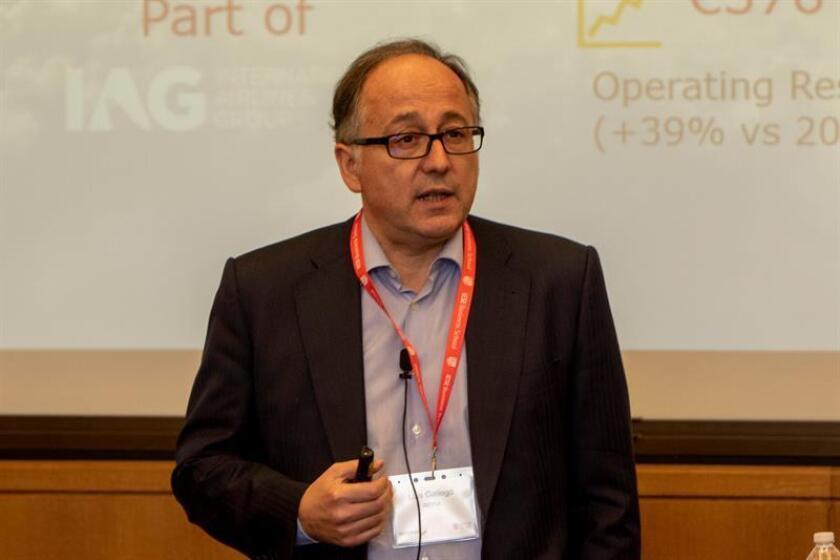 El presidente de Iberia, Luis Gallego, ofrece una clase magistral hoy, lunes 15 de octubre de 2018, frente a los alumnos de la Escuela Internacional de Negocios IESE de Nueva York, dependiente de la Universidad de Navarra, en Nueva York (EE. UU.). EFE