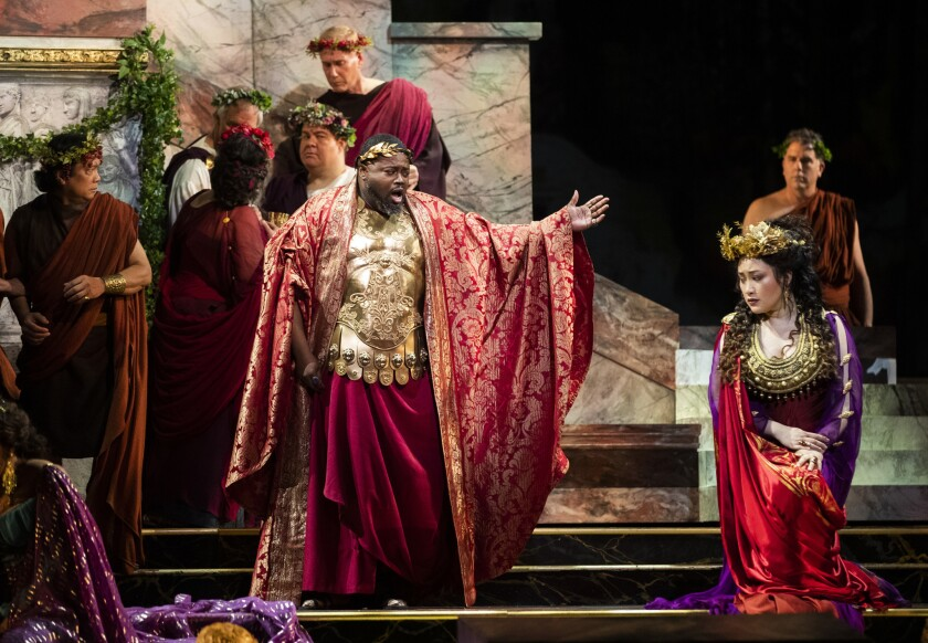 LOS ANGELES, CA-FEBRUARY 28, 2019: Russell Thomas, left, as Titus, Emperor of Rome, and Guanqun Yu,