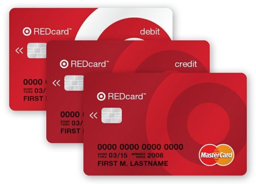 Prototypes of new chip-and-PIN-protected Target REDcards, which will run on MasterCard's system starting in 2015.