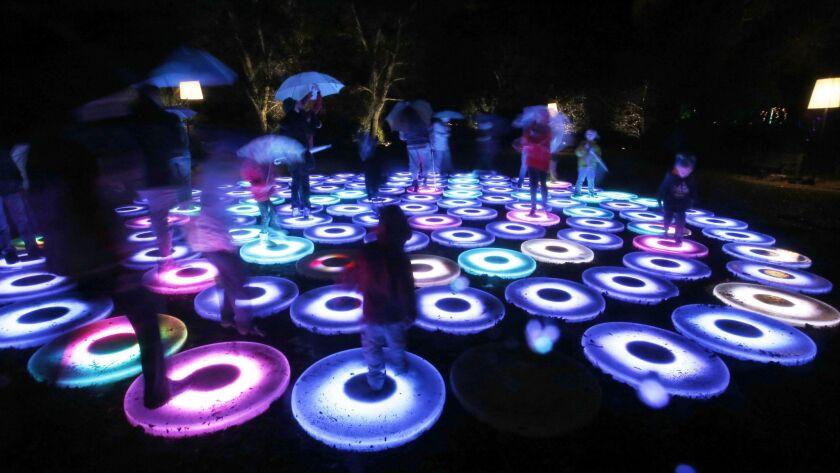 """La Cañada Flintridge, Ca – December 23, 2016: Visitors walk through the Descanso Gardens, """"Enchanted"""