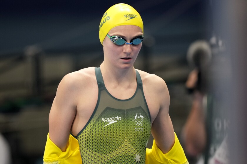 Ariarne Titmus of Australia walks onto the pool deck for her women's 200-meter freestyle semifinal at the 2020 Summer Olympics, Tuesday, July 27, 2021, in Tokyo, Japan. (AP Photo/Martin Meissner)