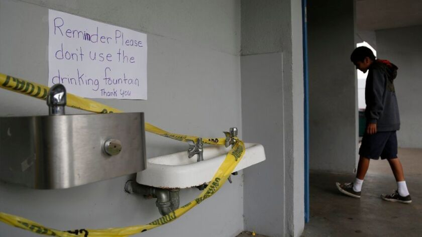 Water fountains and faucets have been shut-off at La Mirada School in San Ysidro since contaminants were found in the tap water due to old pipes and faucets. Students and faculty have been using bot