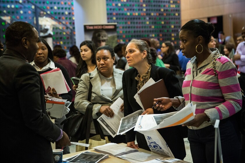 A job fair at the Bronx Public Library in New York last week.