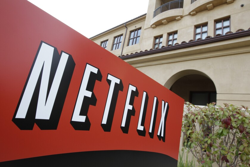 The Netfilx headquarters is seen in Los Gatos, Calif. The company reported its quarterly financial results on Wednesday, Oct. 14.