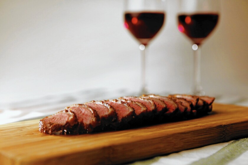 Sauteed duck breast calls for a bolder red wine.