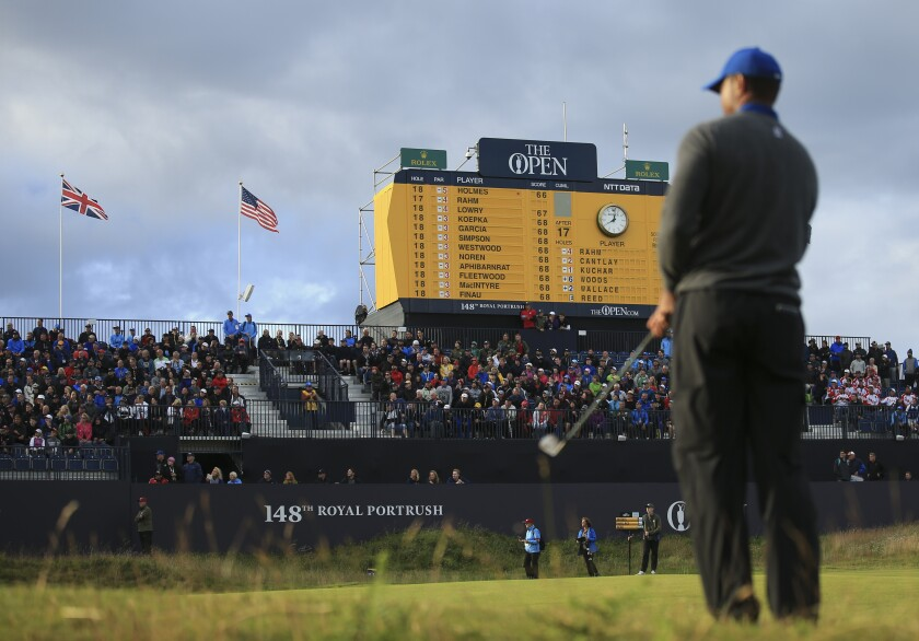 Tiger Woods at the British Open on Thursday.