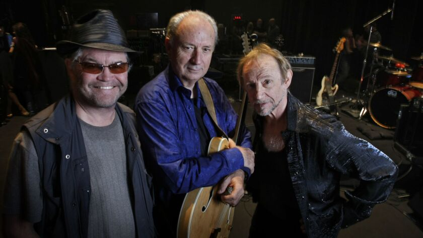 NOVEMBER 7, 2012. ESCONDIDO, CA. L to R: Monkees band members Micky Dolenz, Mike Nesmith and Pete