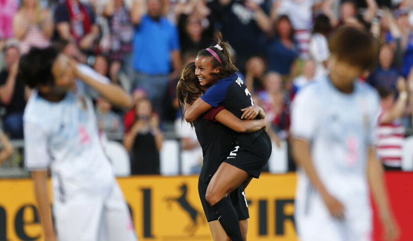 Mallory Pugh, right, celebrates with U.S. teammate Alex Morgan after a goal against Japan on June 2.