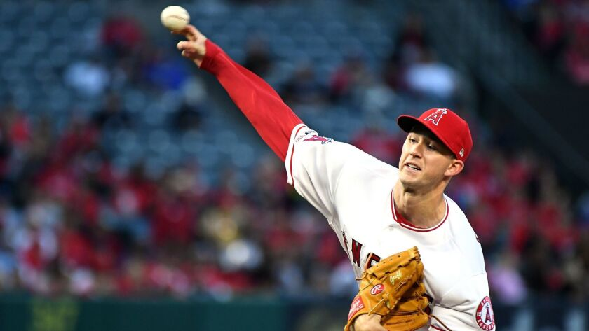 ANAHEIM, CALIFORNIA APRIL 30, 2019-Angels starting pitcher Griffin Canning throws a pitch against th