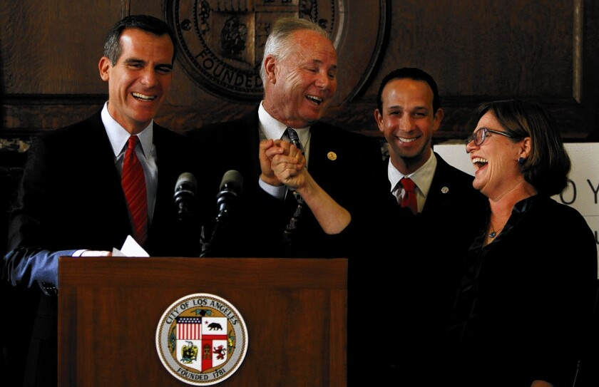 Los Angeles Mayor Eric Garcetti, left, Councilmen Tom LaBonge and Mitch Englander and U.S. Geological Survey seismologist Lucy Jones at a City Hall news conference to announce their earthquake safety initiative.