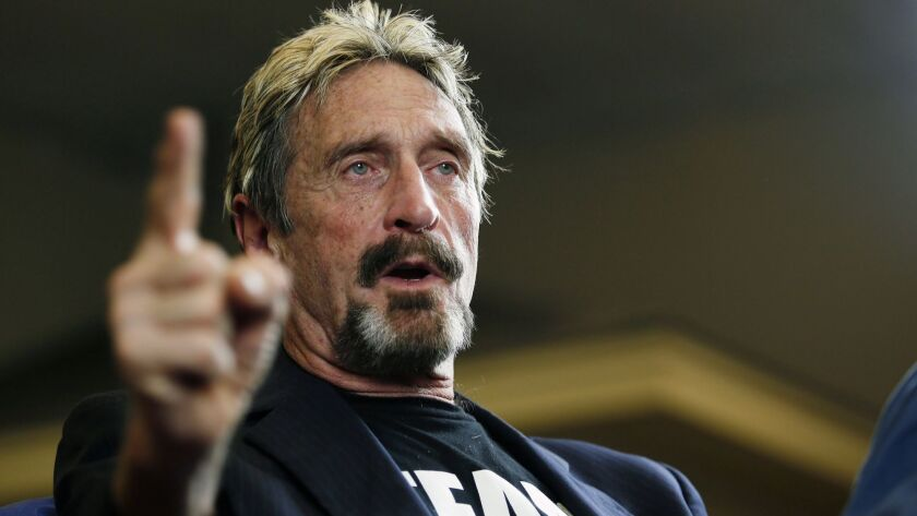 FILE - In this Sept. 9, 2015 file photo, internet security pioneer John McAfee announces his candida