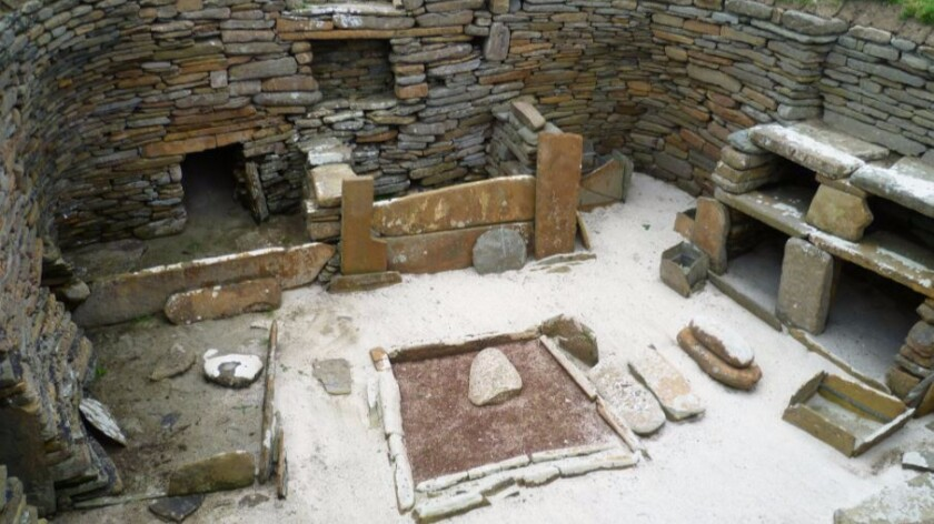 A dwelling at the Neolithic site of Skara Brae in Scotland.