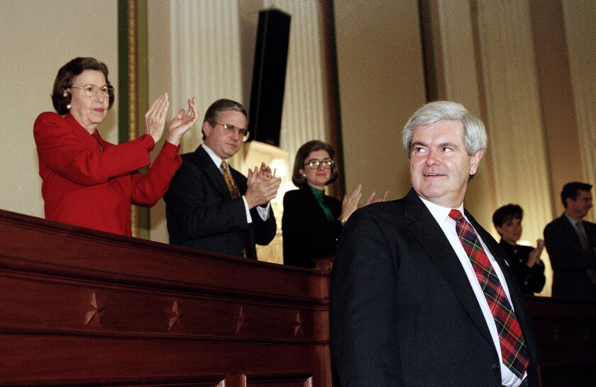 Rep. Newt Gingrich at a Capitol Hill news conference in December 1994.