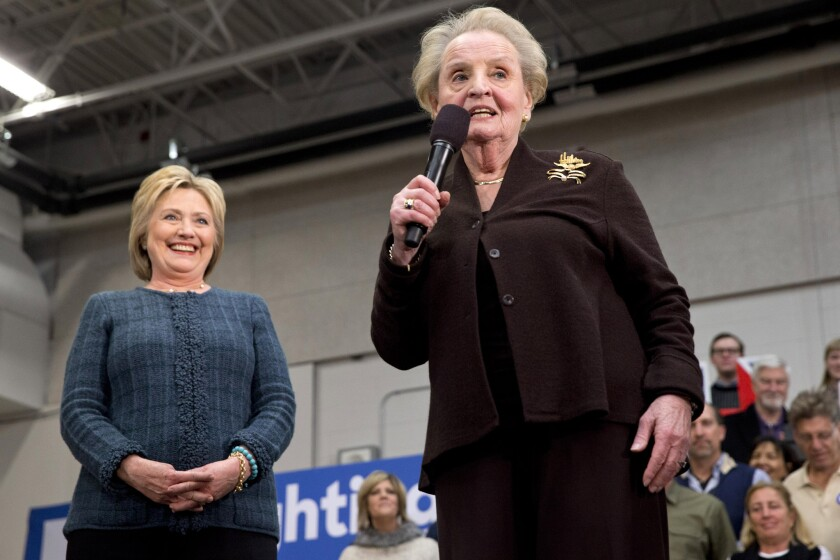 Former Secretary of State Madeleine Albright introduces Democratic presidential candidate Hillary Clinton at a campaign event in Concord, N.H. on Feb. 6.