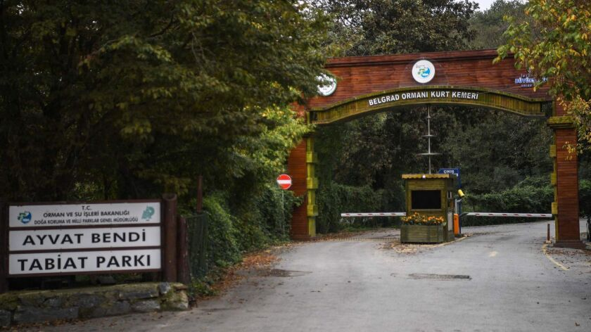 The main gate of Istanbul's Belgrad forest, which was searched by Turkish police investigating the disappearance of Saudi journalist Jamal Khashoggi.