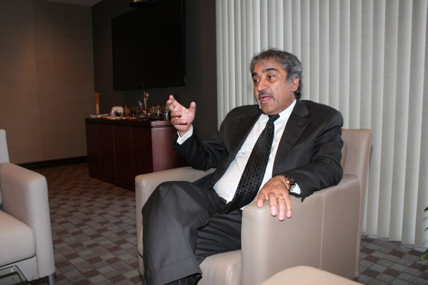 UC San Diego Chancellor Pradeep Khosla talks about his vision for the university from his office on campus. PAT SHERMAN