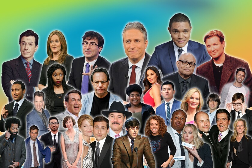"""A photo illustration shows a crowded frame containing about 30 cutouts of past and present """"The Daily Show"""" personalities."""