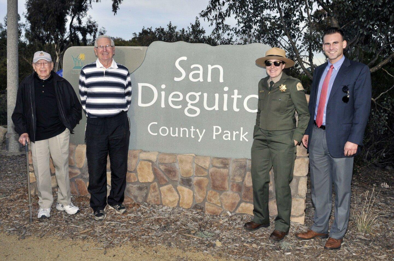 Harry Grossman, Roger Boyd, County of San Diego Park Ranger Maggie Tull, Policy Advisor/Community Representative Evan Bollinger