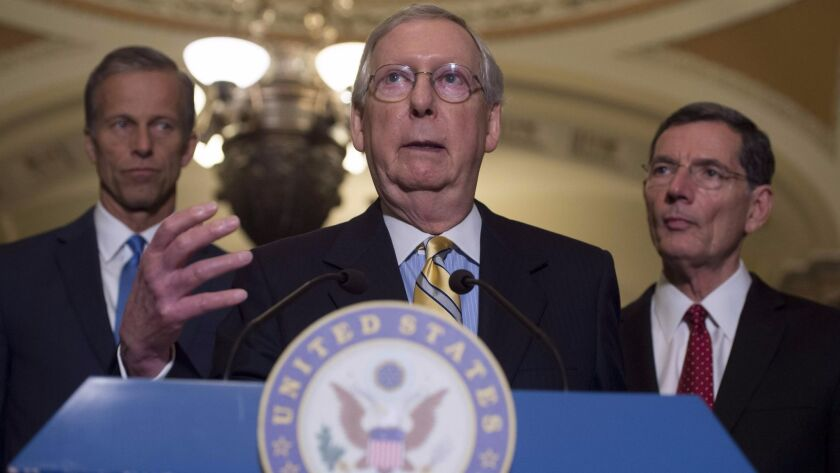Senate Majority Leader Mitch McConnell (R-Ky.) speaks about the Republicans' healthcare bill in Washington, D.C., Tuesday. President Trump urged Republicans to repeal the Affordable Care Act if they can't agree on the bill.