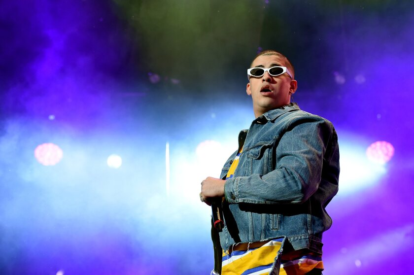 Bad Bunny performs on stage