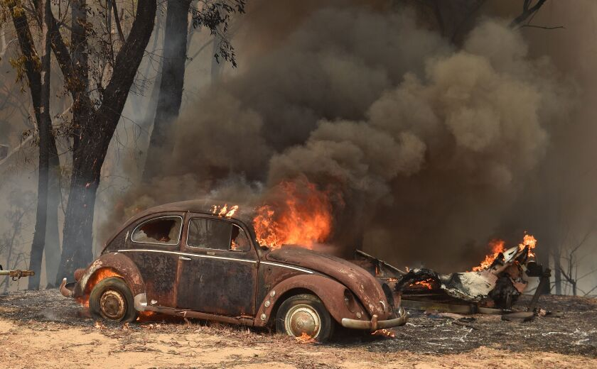 A vehicle burns in Balmoral, New South Wales