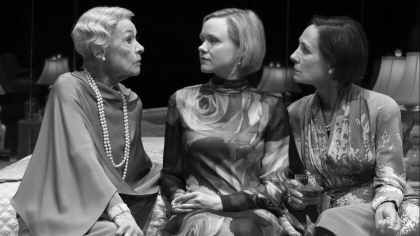"Glenda Jackson, Alison Pill and Laurie Metcalf in Edward Albee's ""Three Tall Women,"" directed by Joe Mantello, at the Golden Theatre."