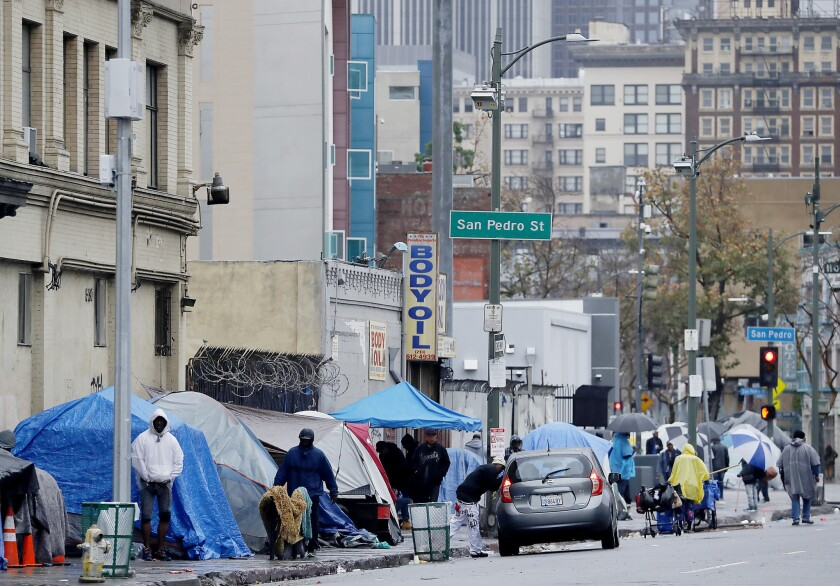 LOS ANMGELES, CALIF. - MAR. 6, 2019. A homless encampment near the intersection of Fifth and San Ped