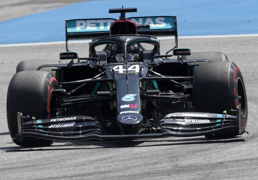 Mercedes driver Lewis Hamilton of Britain steers his car during the qualifying session at the Red Bull Ring racetrack in Spielberg, Austria, Saturday, July 4, 2020. The Austrian Formula One Grand Prix will be held on Sunday. (AP Photo/Darko Bandic)