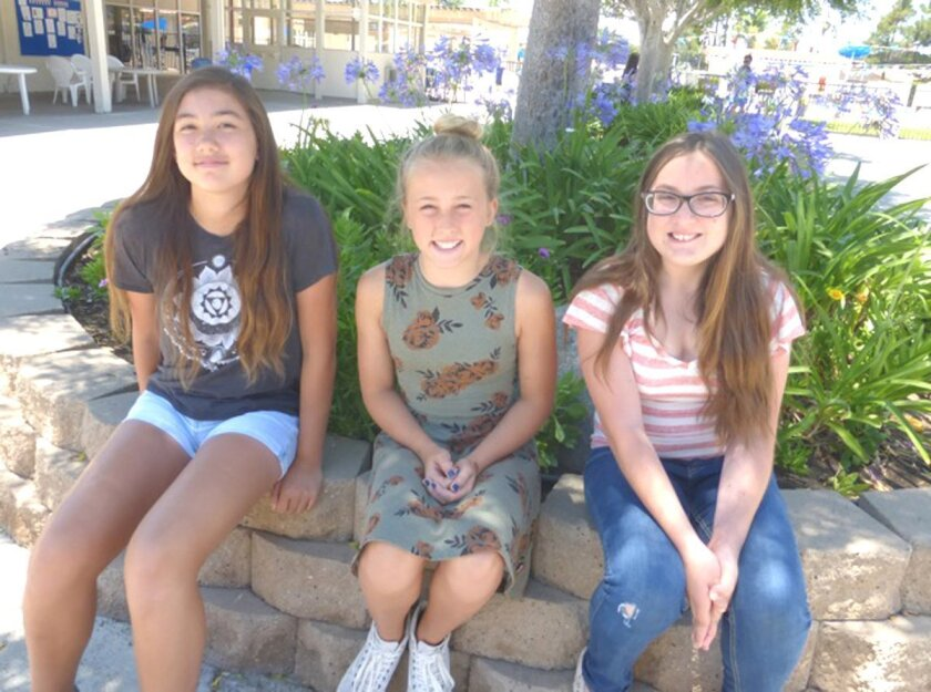 Students selected by Rancho Bernardo AAUW to attend Tech Trek at UC San Diego from June 21 to 27 were, from left, Jessica Daum, Azure Paxton and Rylee Allbaugh.