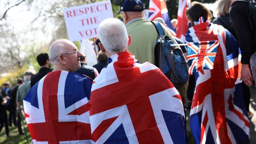 Brexit supporters at a rally in London.